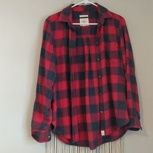 Gray and red flannel